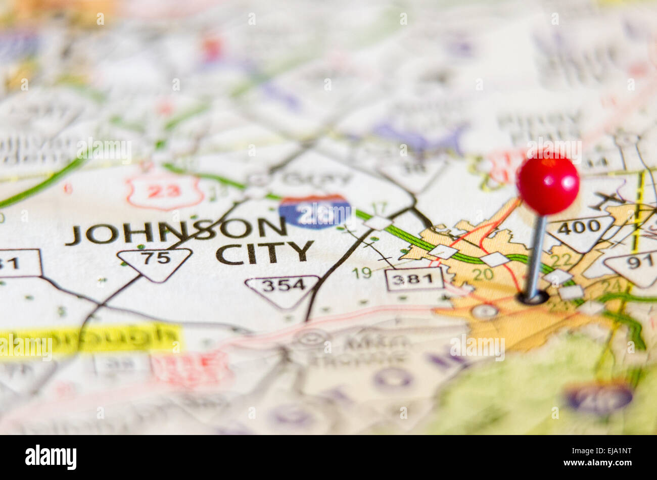 Johnson City in Tennessee on map Stock Photo: 80126196 - Alamy