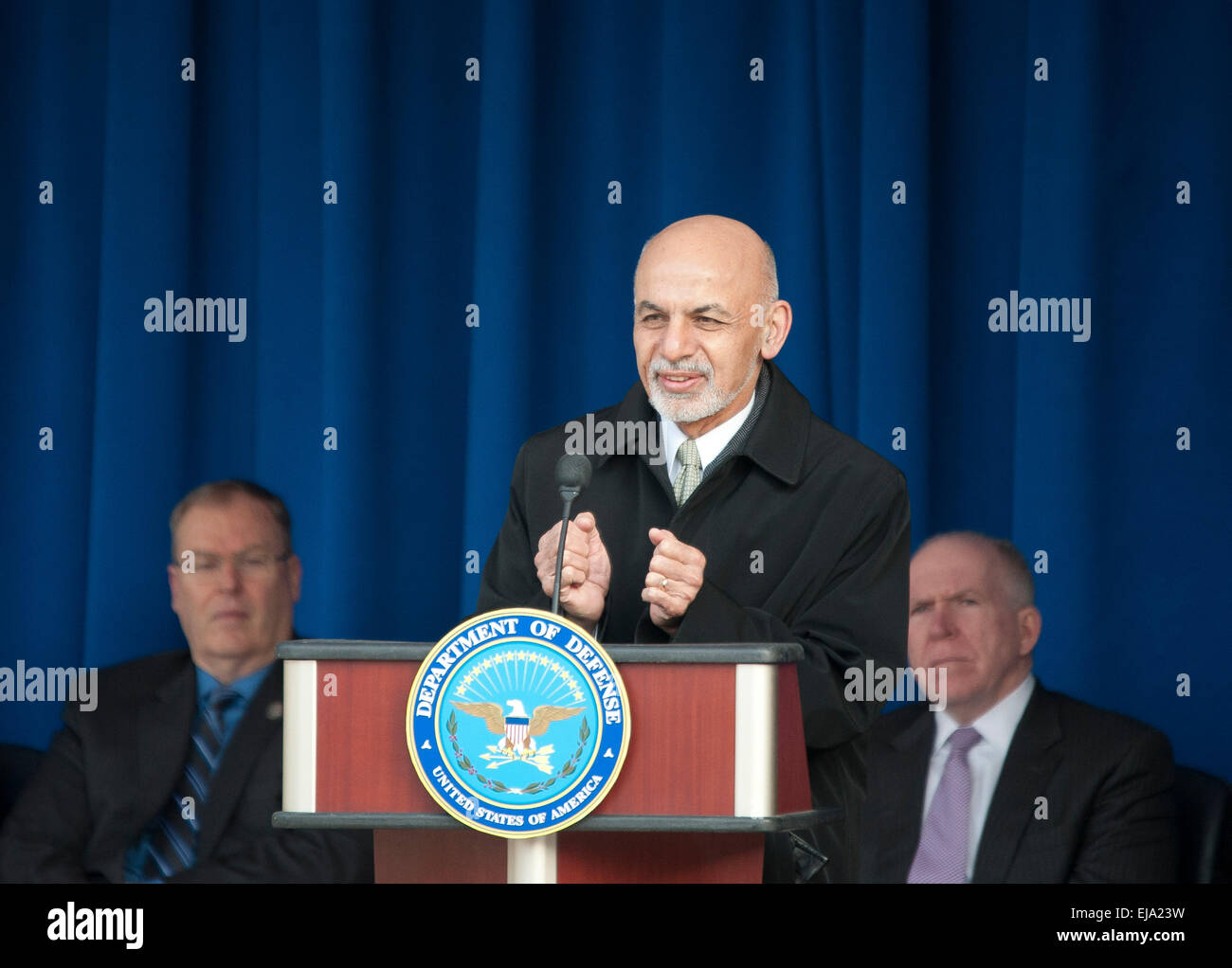 Washington, DC, USA. 23rd Mar, 2015. Afghan President Ashraf Ghani speaks during an event to thank service members - Stock Image