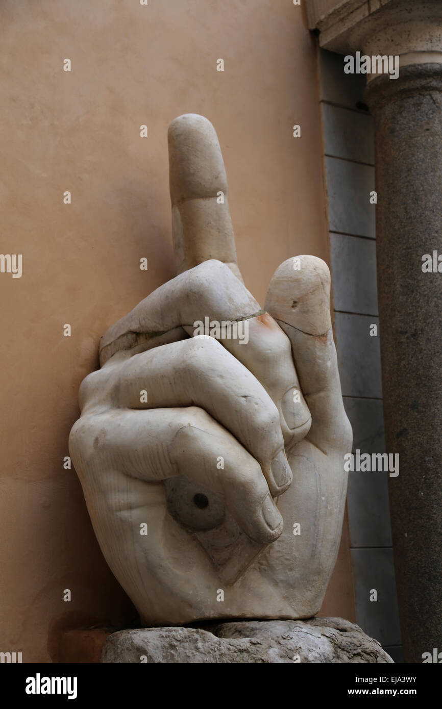 Roman Emperor Constantine I (272-337 AD). Colossal statue at the Capitoline Museums. 4th century. Hand. Rome. Italy. - Stock Image