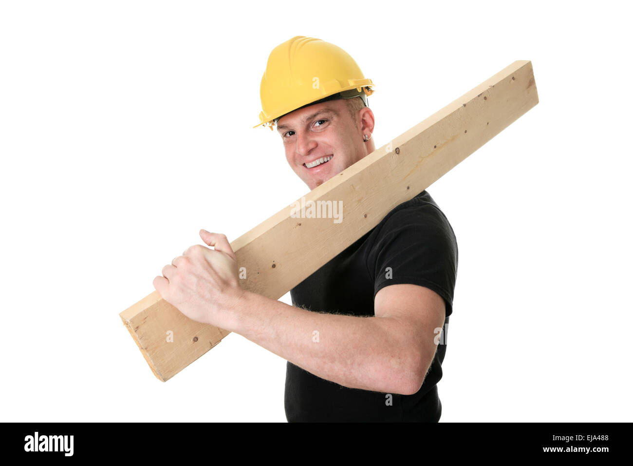 d79ee65751c A Carpenter man Holding Wood in studio white background Stock Photo ...