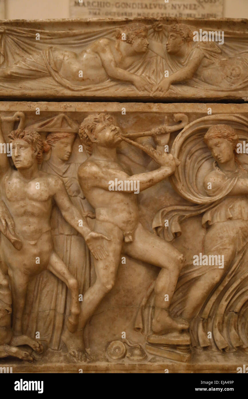 Roman art. Sarcophagus with Dionysian procession. Satyr with aulos. Detail. Capitoline Museums. Rome. Italy. - Stock Image