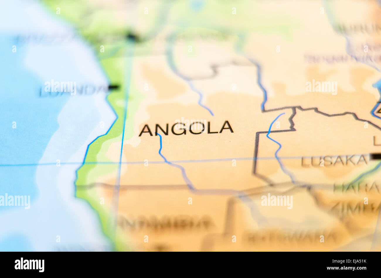 angola country on map - Stock Image