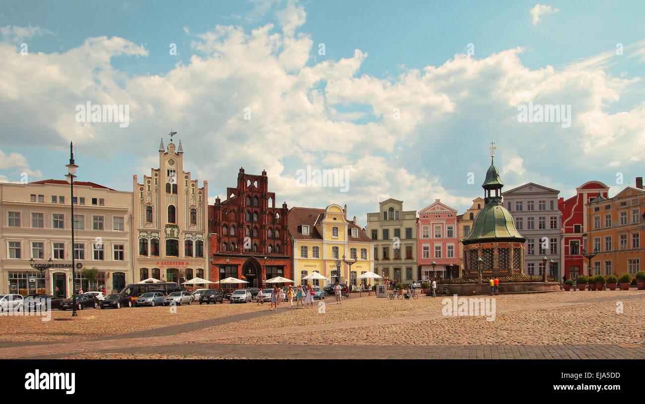 Market Place Hanseatic City of Wismar Germany Stock Photo