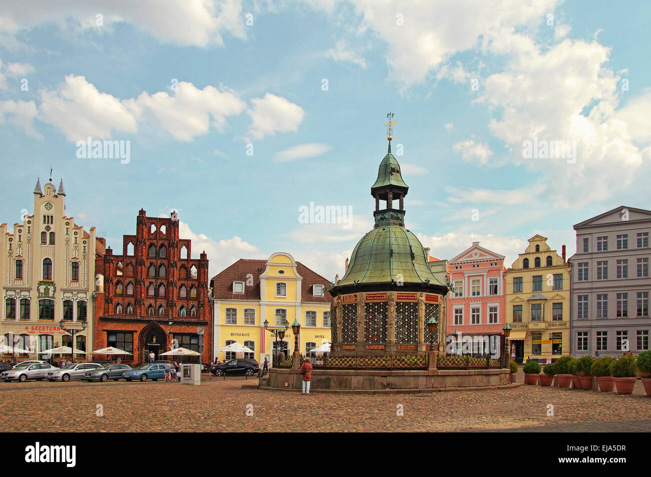Market Place Hanseatic City of Wismar Germany - Stock Image
