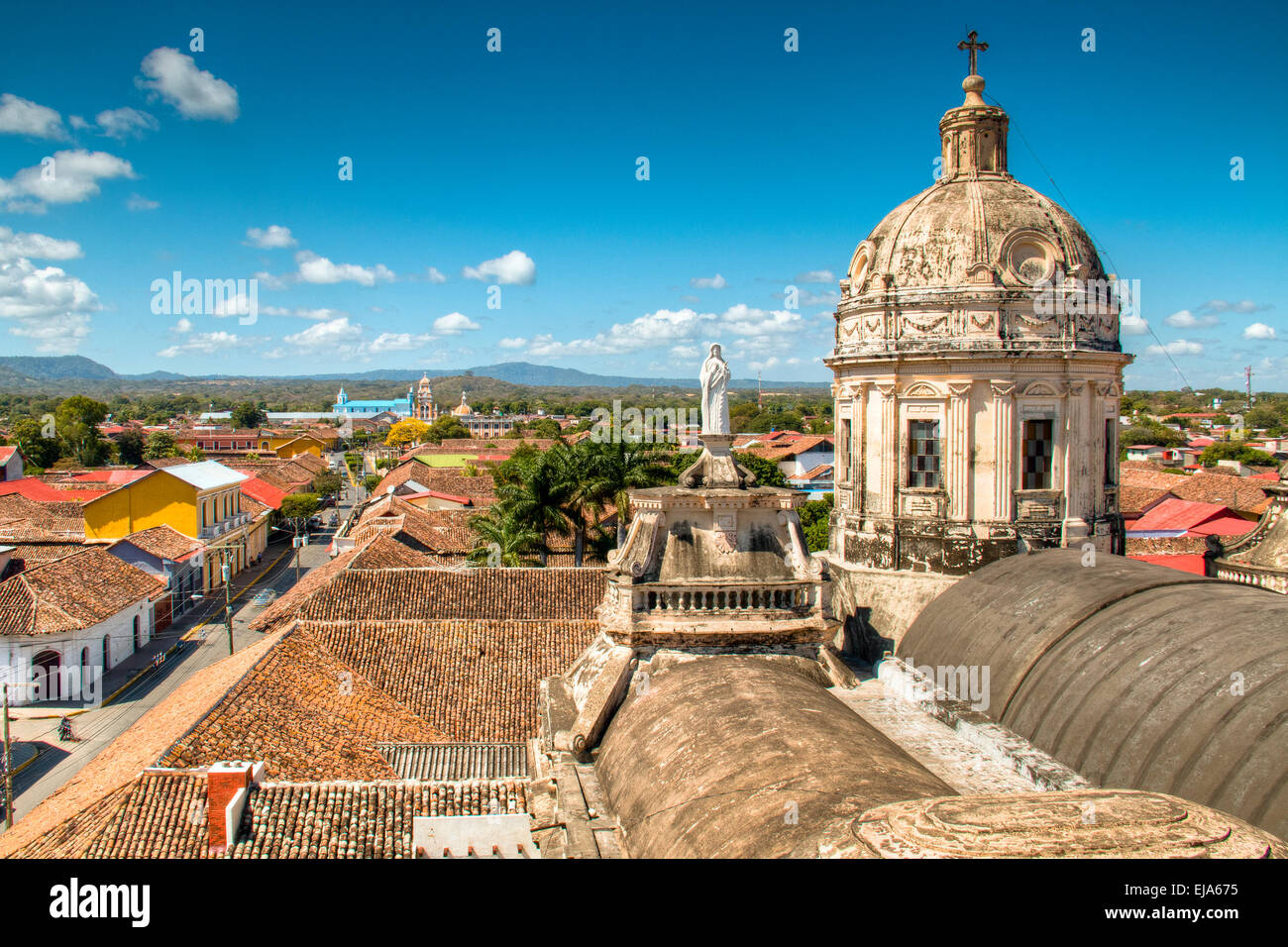 View over the historical center of Granada, Nicaragua Stock Photo