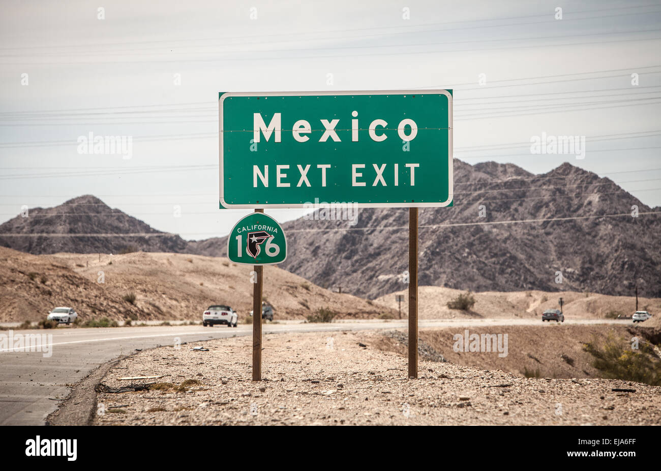 Highway sign Mexico Next Exit in California - Stock Image
