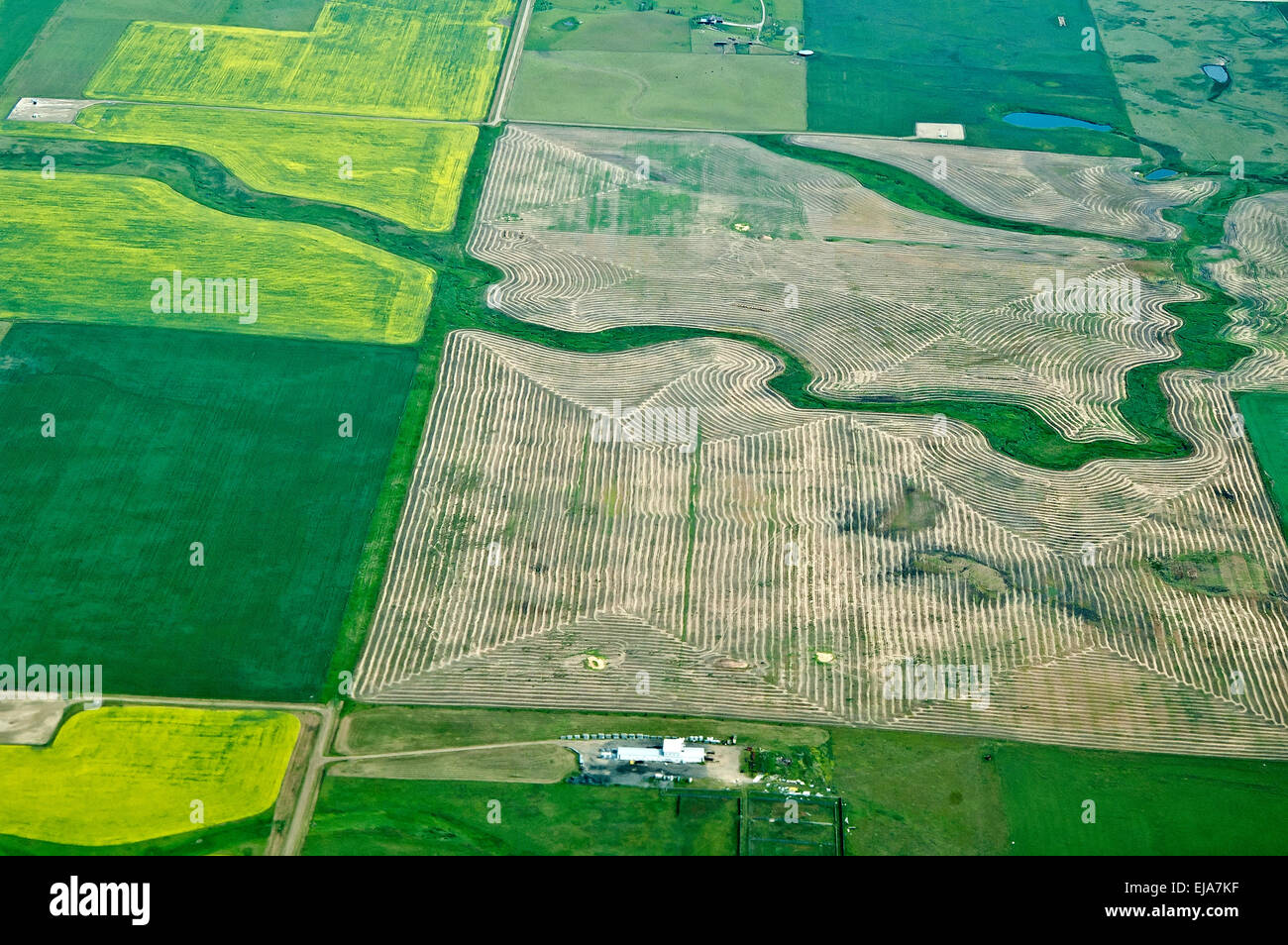 Cultivated land Aerial, - Stock Image