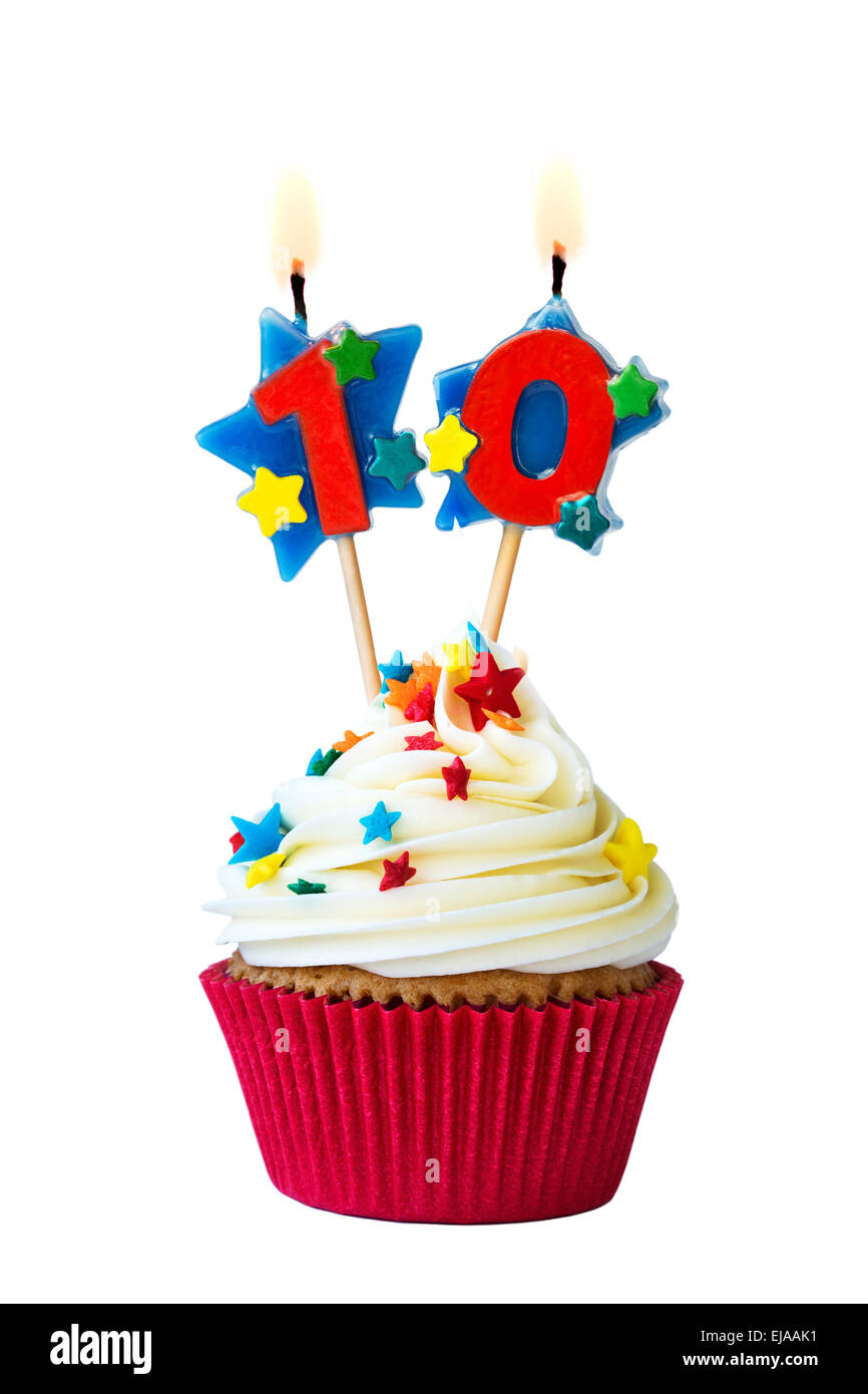 Cupcake with number ten candles - Stock Image