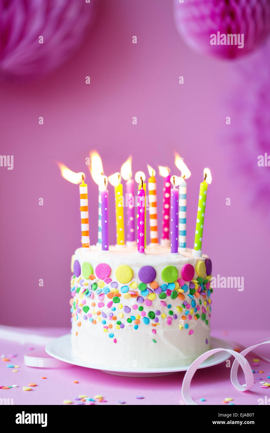 Excellent Birthday Cake Against A Party Background Stock Photo 80133448 Alamy Funny Birthday Cards Online Elaedamsfinfo