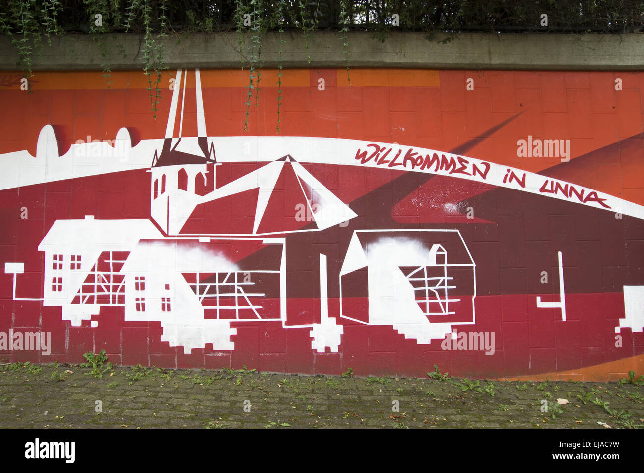 Graffiti Willkommen in Unna, Unna, Germany - Stock Image