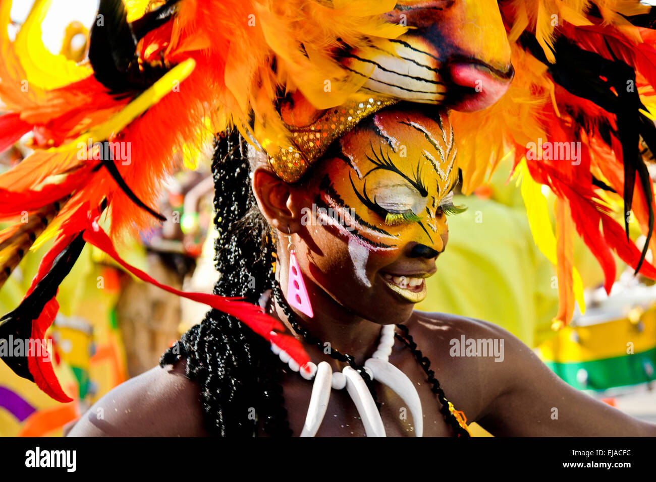 A Colombian girl, having a tiger mask, dances Mapalé during the Carnival in Barranquilla, Colombia. - Stock Image