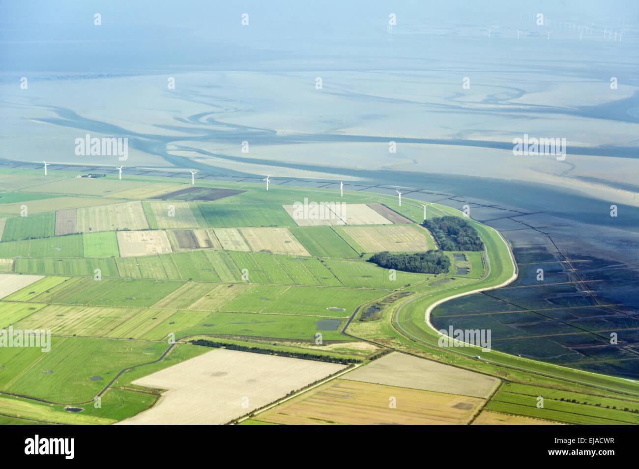 Luftbild vom  Wattenmeer bei Föhr - Stock Image
