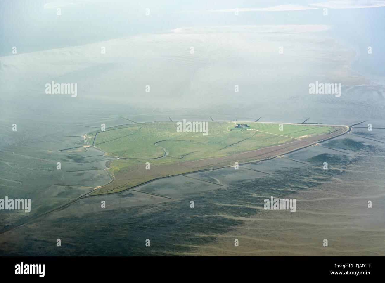 Luftbild vom Wattenmeer bei Hallig Südfall - Stock Image