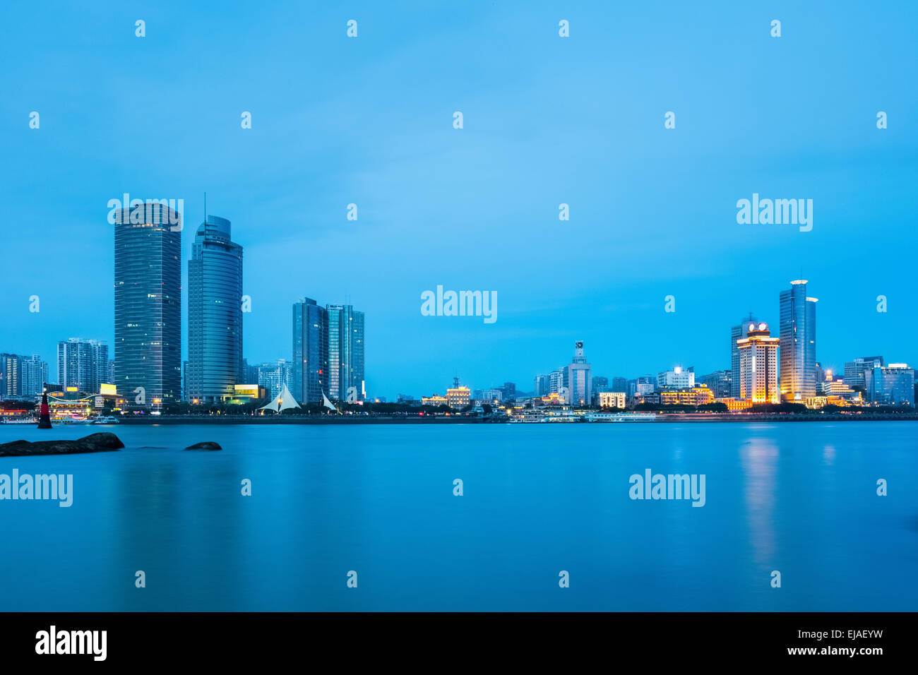 xiamen skyline closeup in nightfall - Stock Image