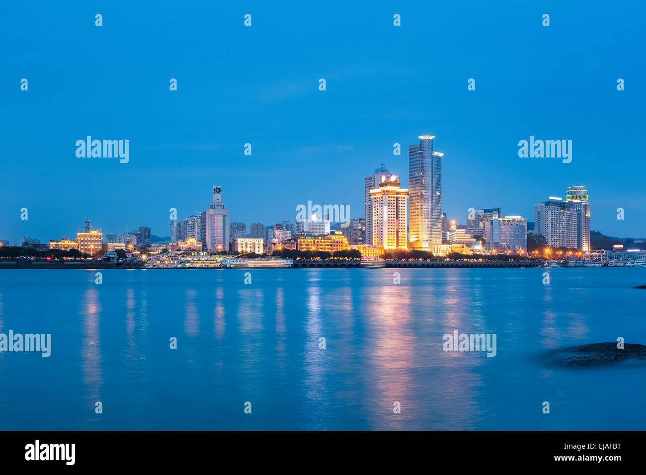 xiamen skyline closeup at night - Stock Image