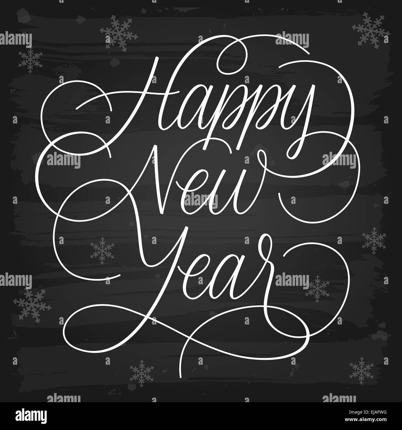 happy new year greetings chalkboard stock image