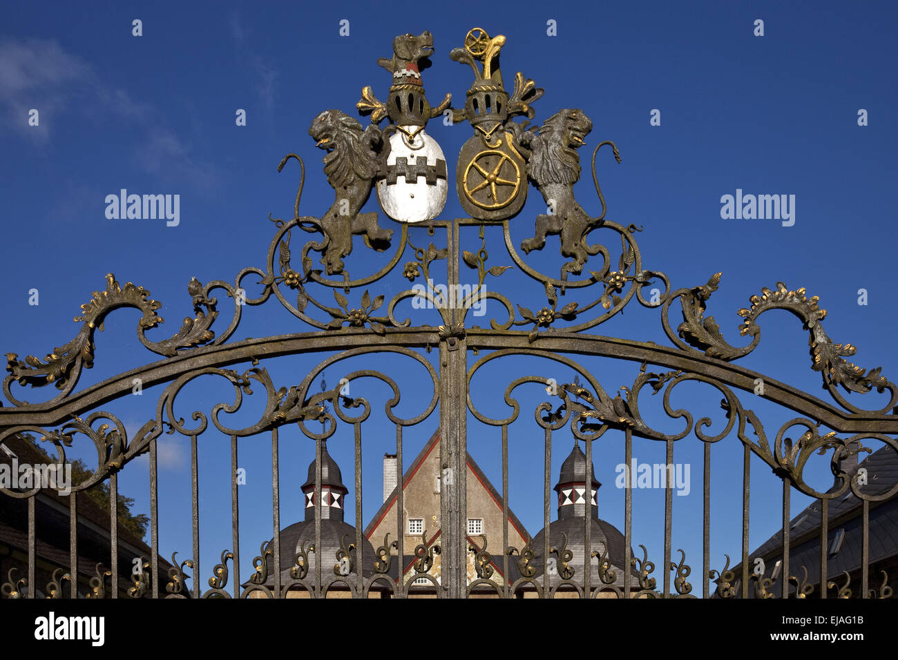 Entrance gate, Neuenhof castle, Luedenscheid - Stock Image