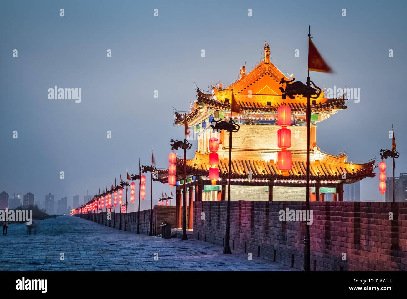 beautiful xian city  in nightfall - Stock Image