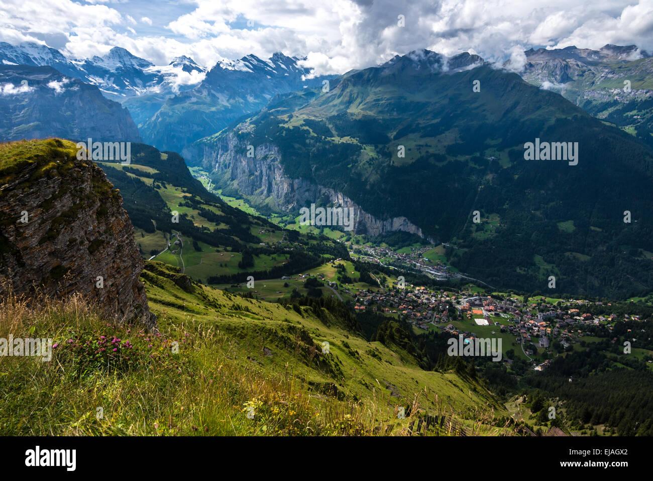 Lauterbrunnen Aerial - Bernese Alps - Switzerland - Stock Image