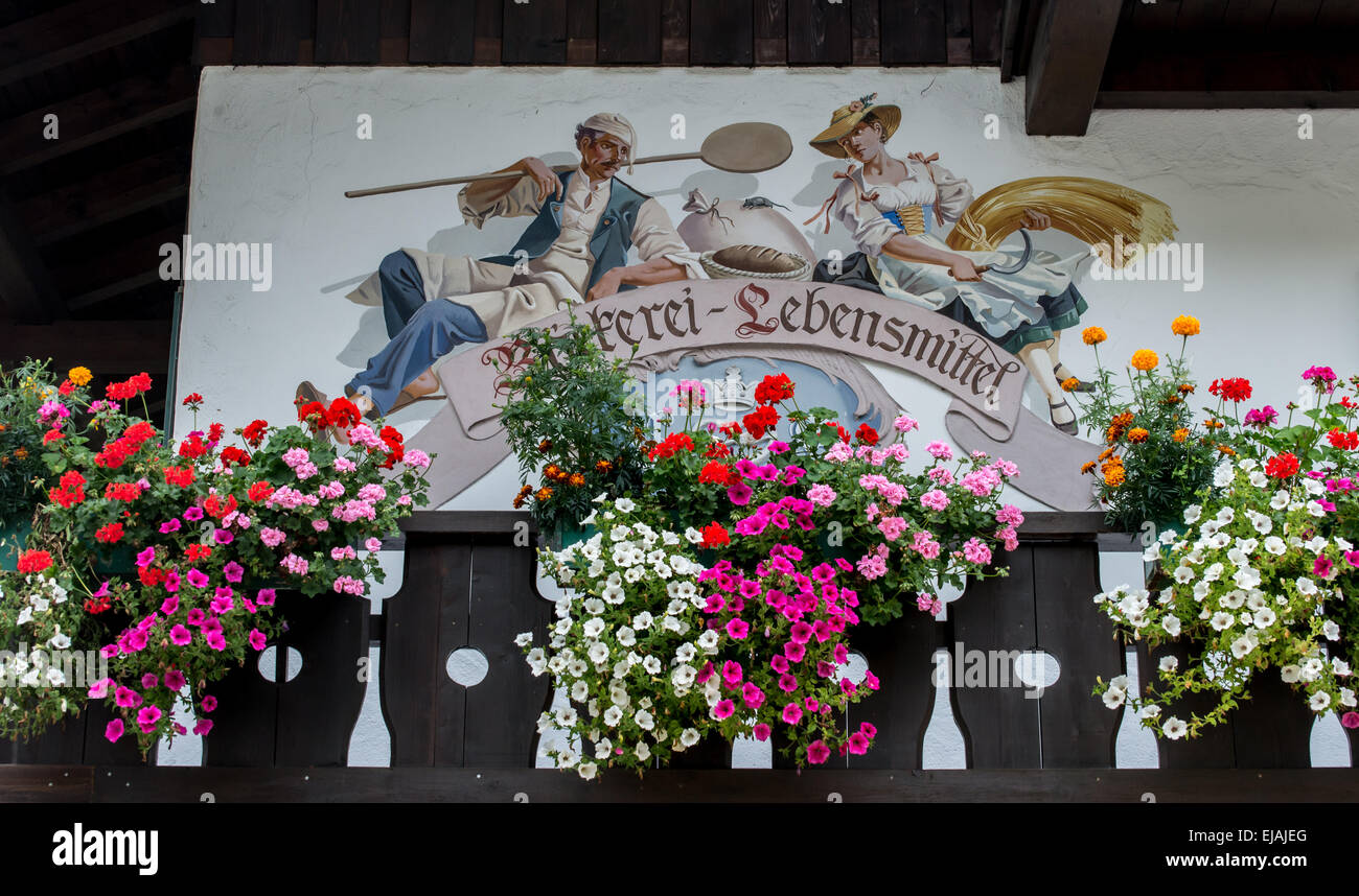 Ettal - Germany - Chalet Art And Flowers - Stock Image