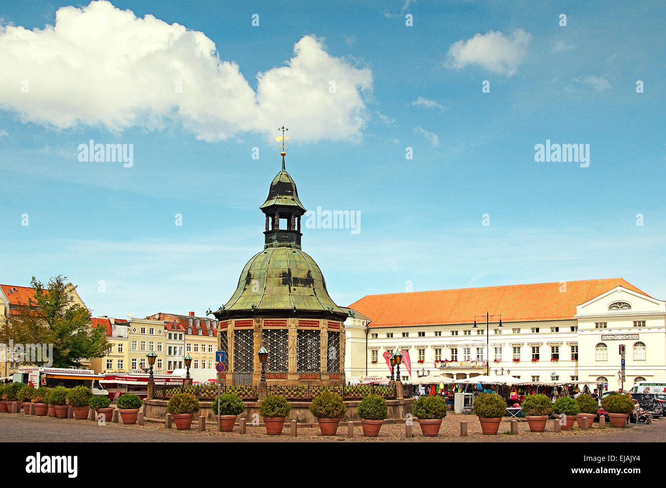 Marketplace Hanseatic City Wismar Germany - Stock Image
