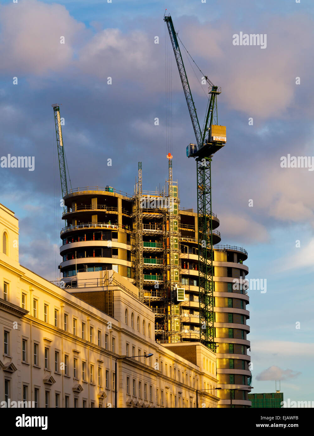Riverside Walk a residential tower block designed by Stanton Williams Architects under construction 2015 at Millbank - Stock Image