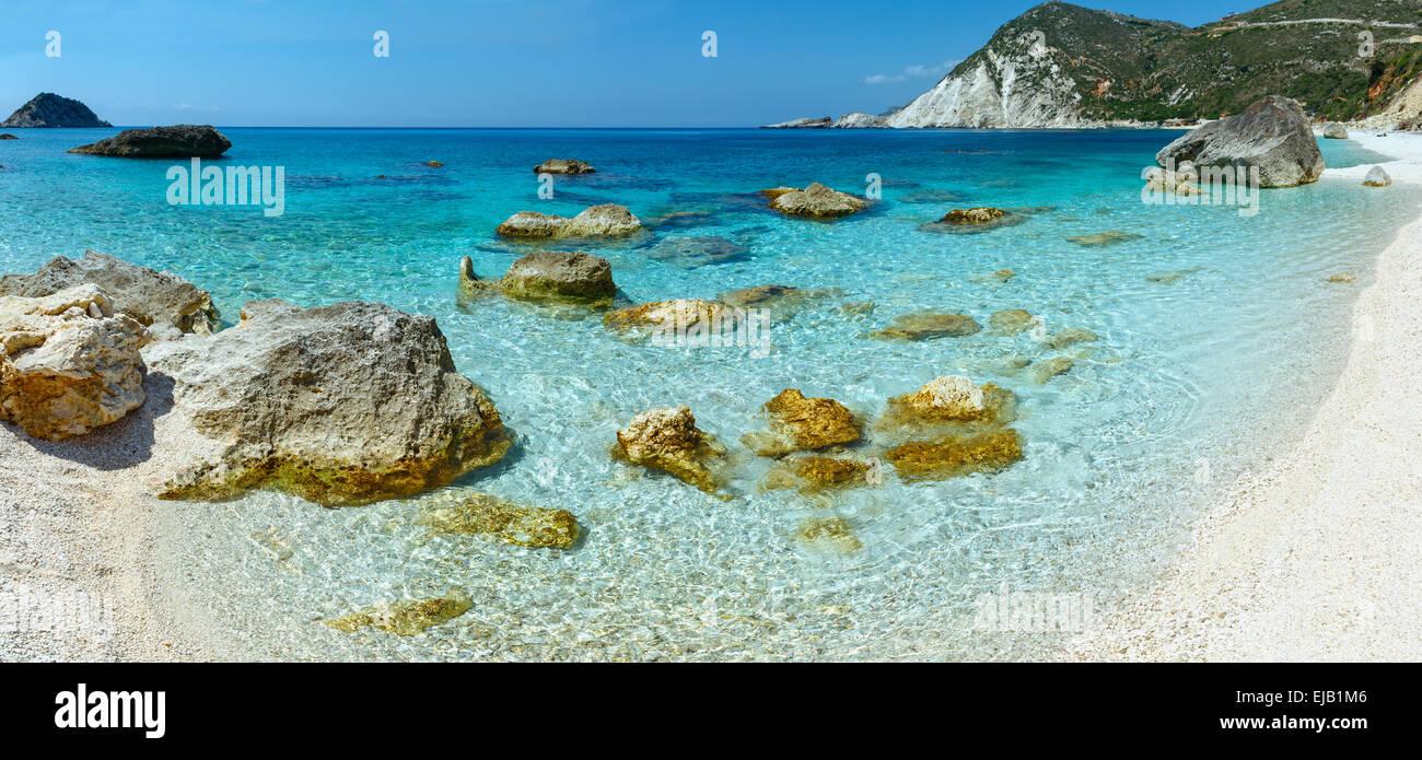 Petani Beach (Kefalonia, Greece) panorama. - Stock Image