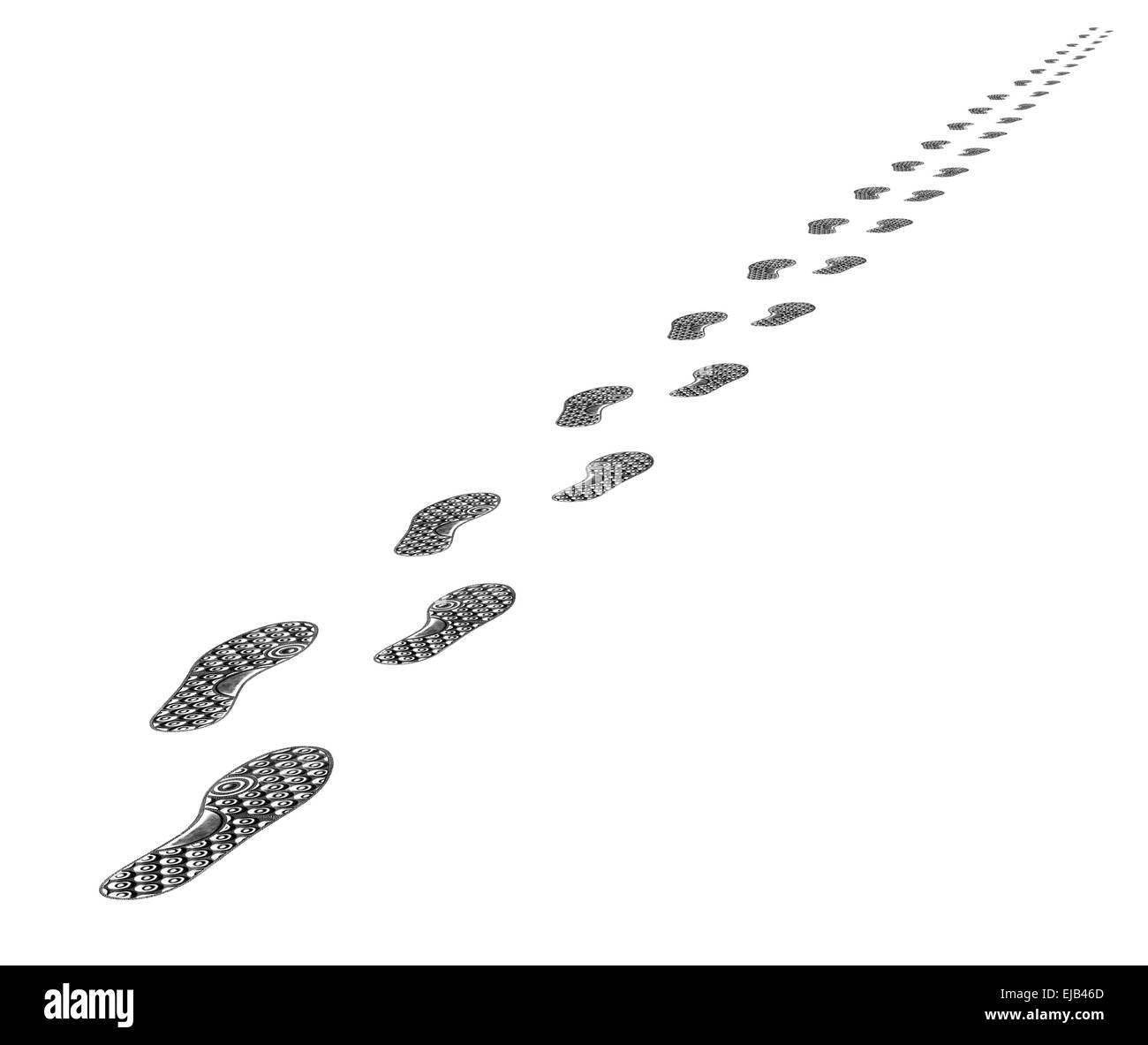 Tracks of shoes - Stock Image