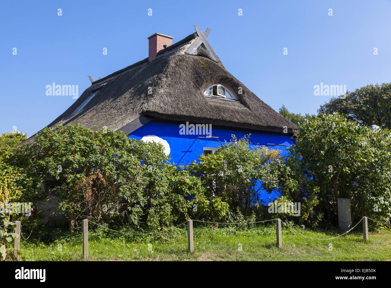 The Blue Barn on Hiddensee Stock Photo
