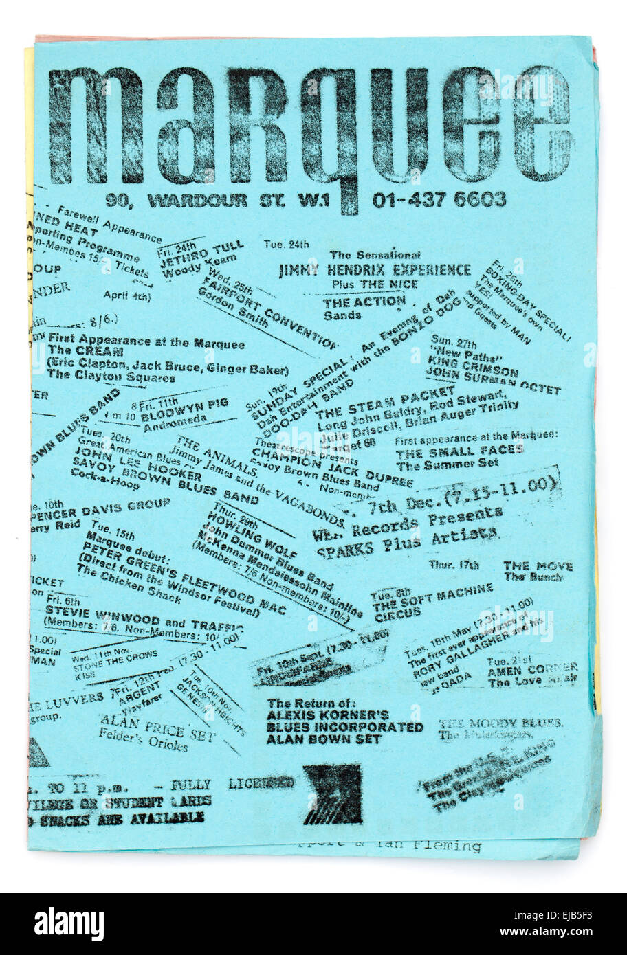 1970's Monthly Promotional Flyer for the legendary Marquee Club Soho London naming famous bands who had played - Stock Image