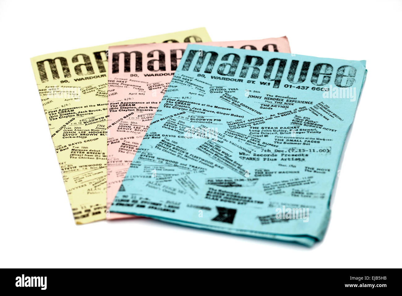 1970's Monthly Promotional Flyers for the Marquee Club Soho London naming famous bands who had played there - Stock Image