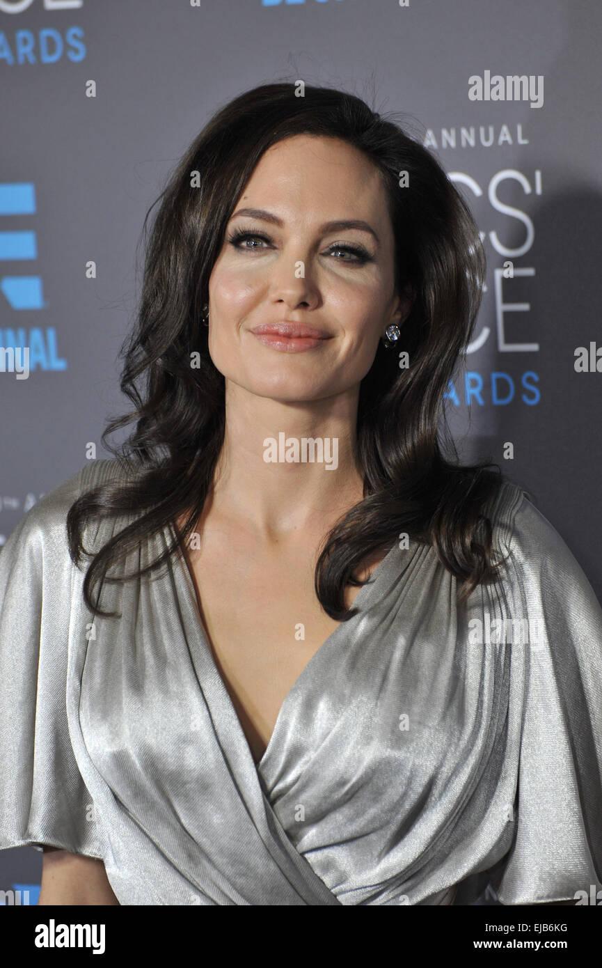 LOS ANGELES, CA - JANUARY 15, 2015: Angelina Jolie at the 20th Annual Critics' Choice Movie Awards at the Hollywood - Stock Image
