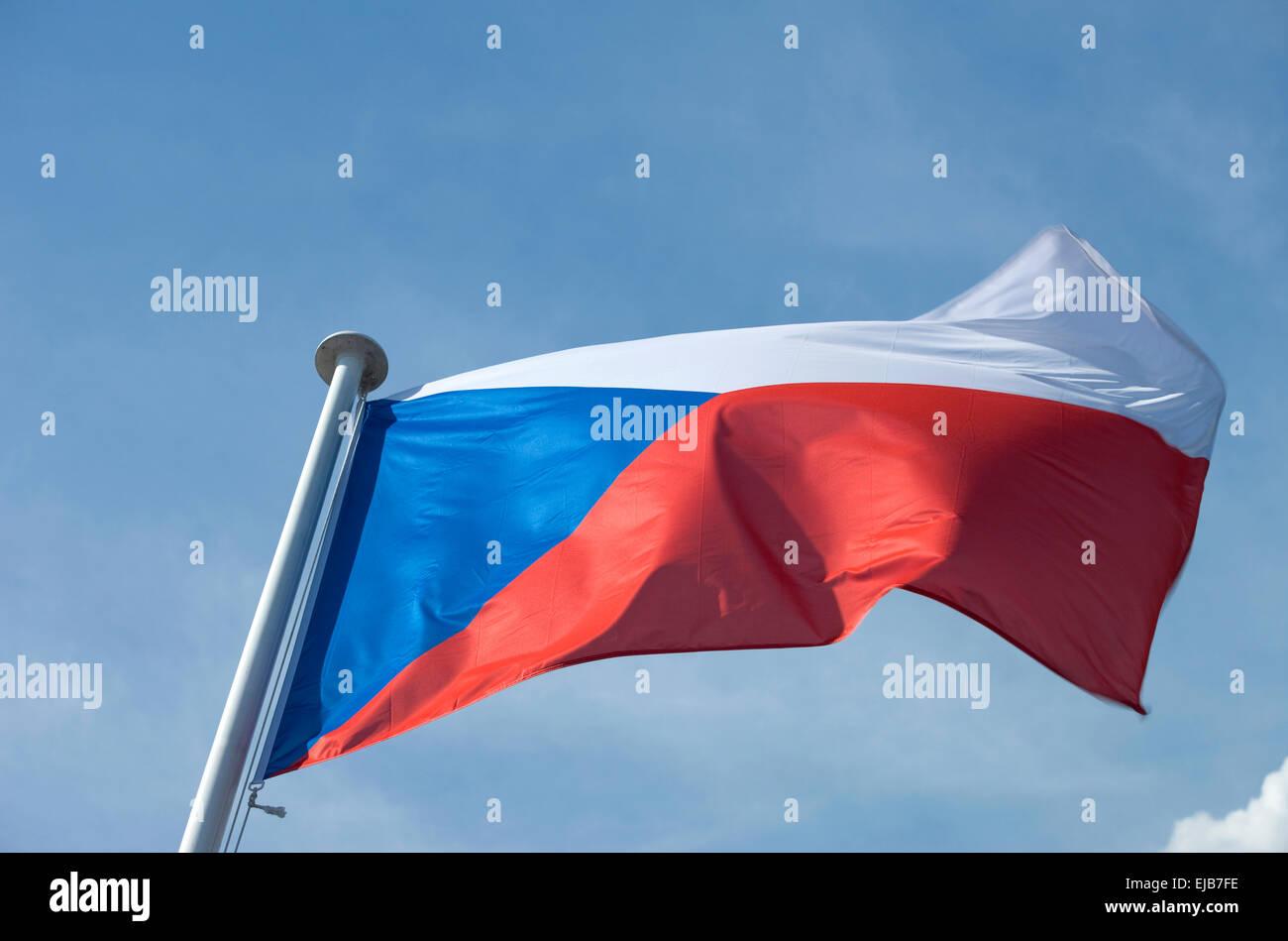 CZECH REPUBLIC FLAG FLYING ON FLAGPOLE Stock Photo
