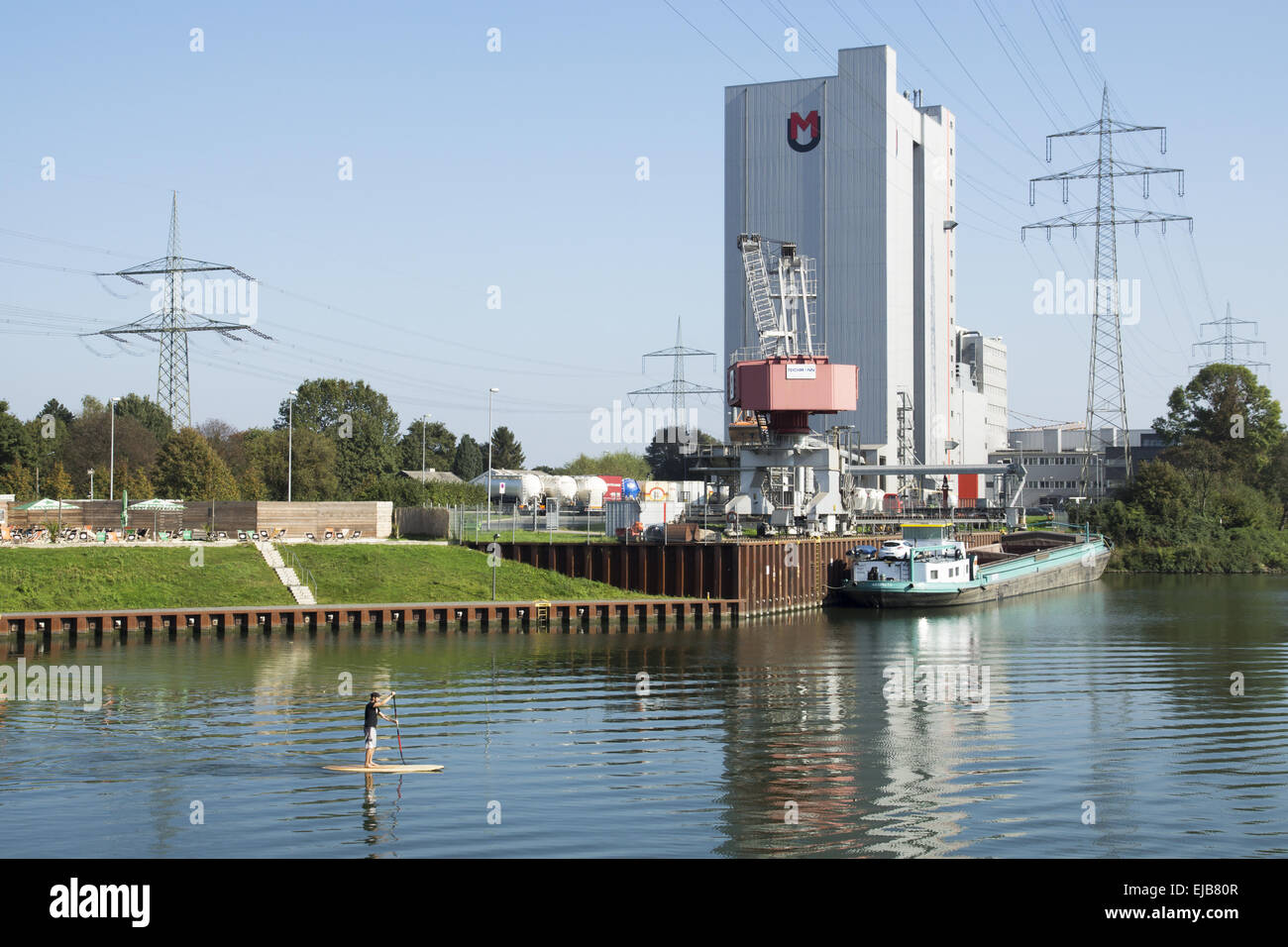 The City harbor in Recklinghausen, Germany - Stock Image