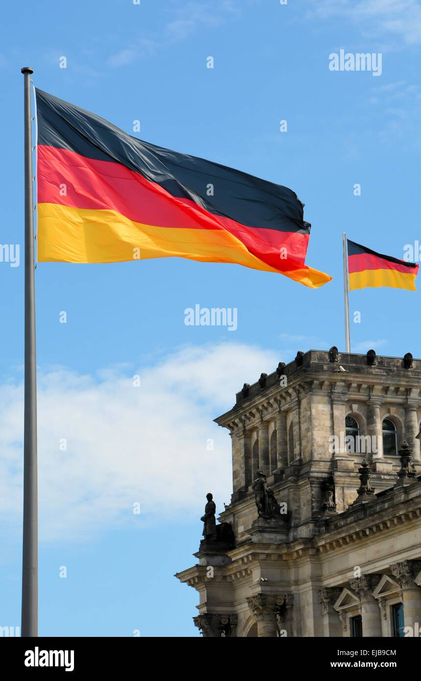 Flags at the Reichstag in Berlin - Stock Image