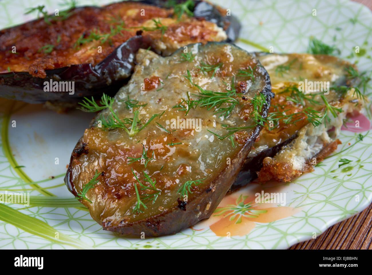 cotolette di melanzane  - Italian appetizer with eggplant - Stock Image
