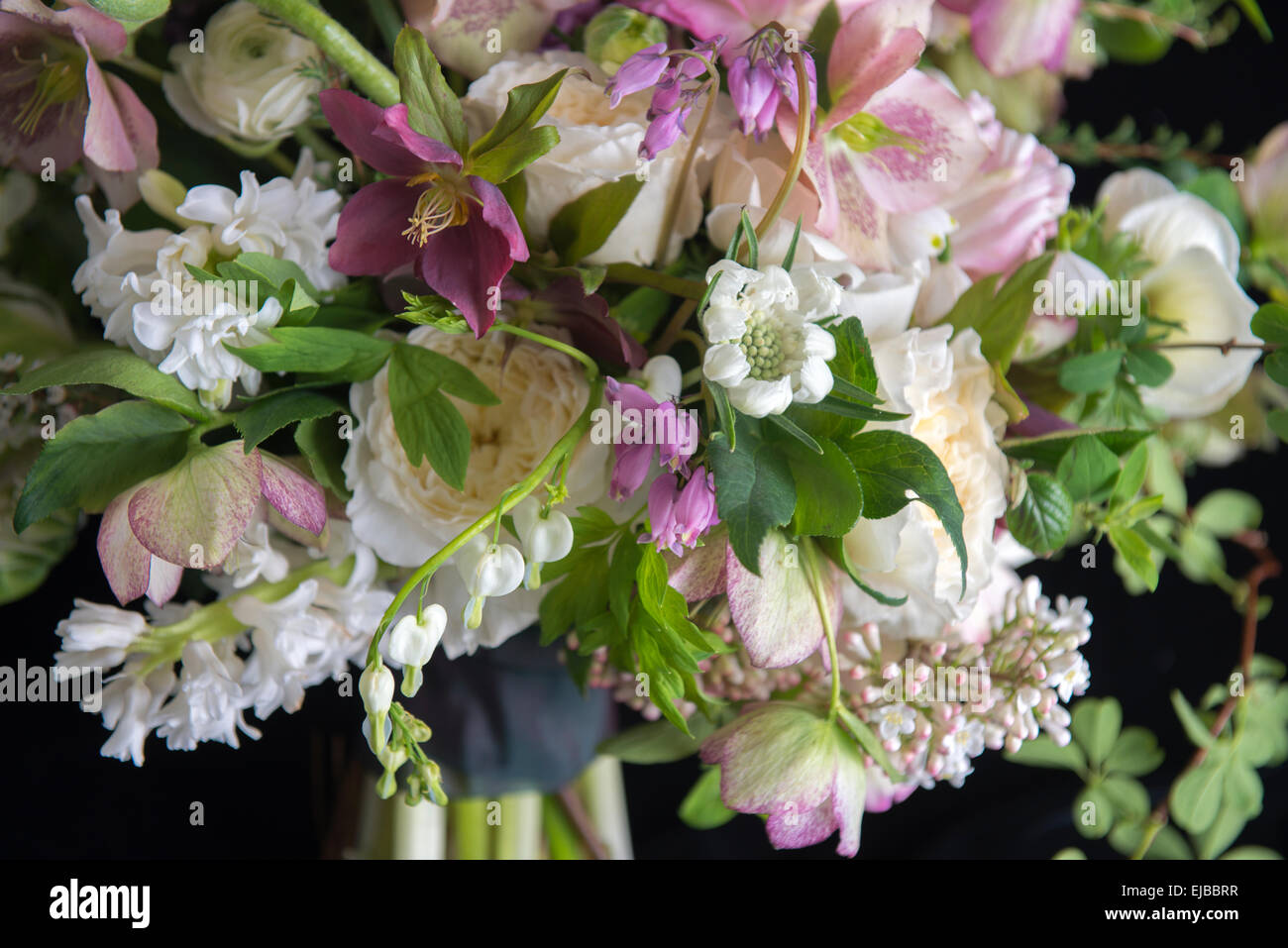 Abundant floral bouquet of spring blooming flowers including Stock ...