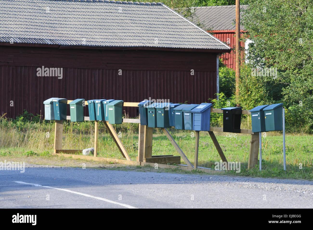 Swedish mailboxes Stock Photo