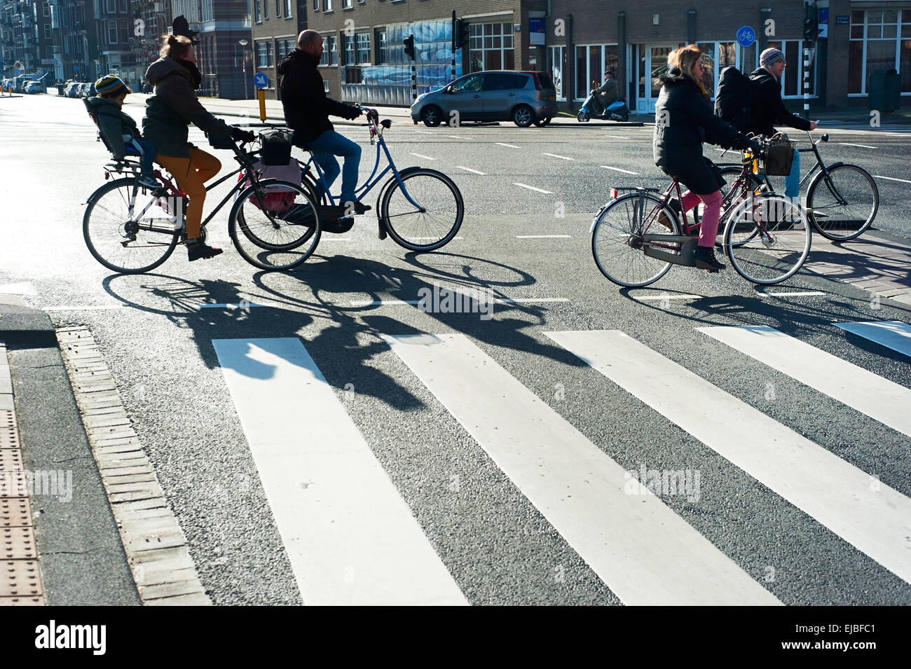 Bicyclists Amsterdam - Stock Image