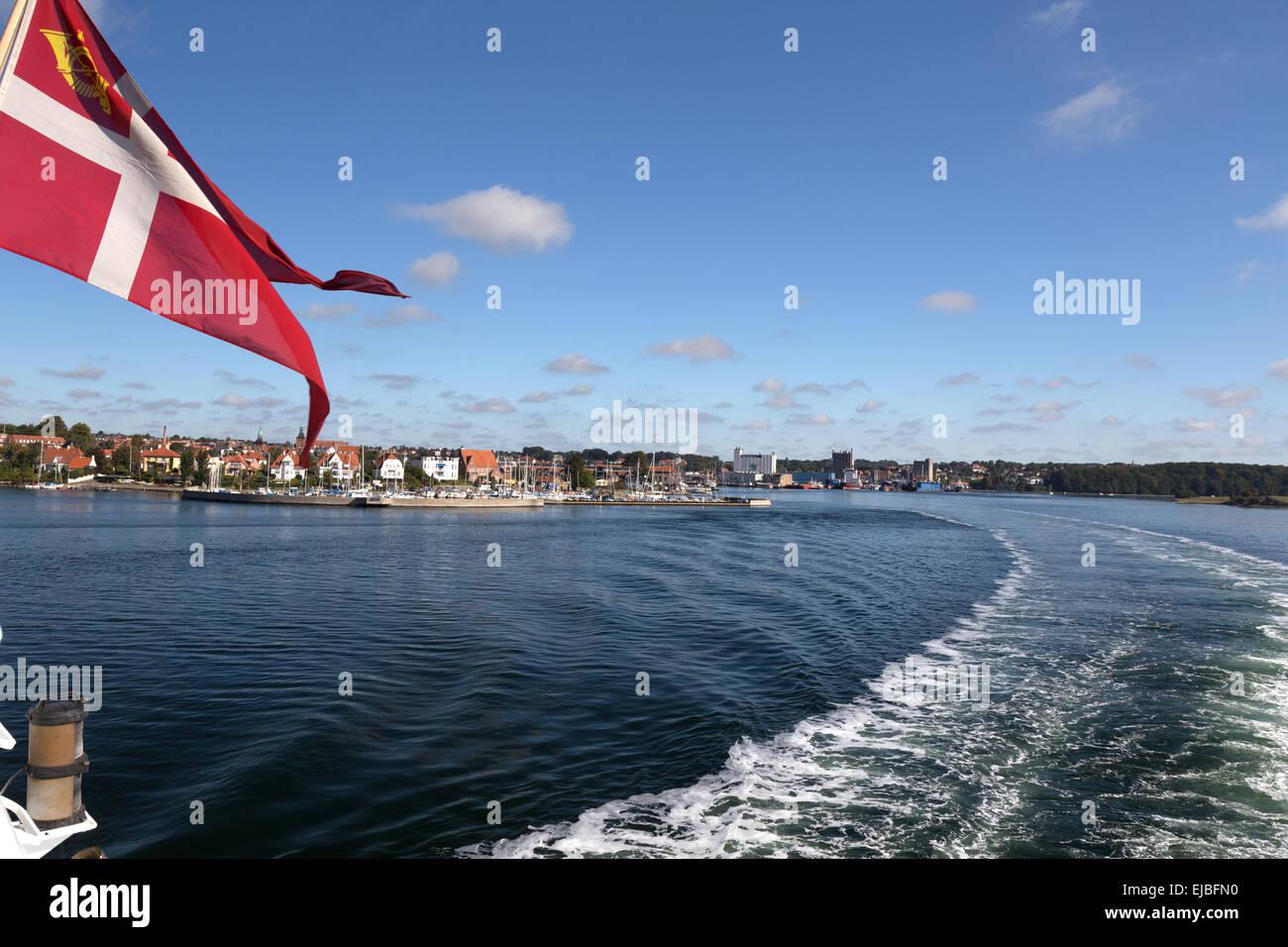Svendborg with Dannebrog - Stock Image