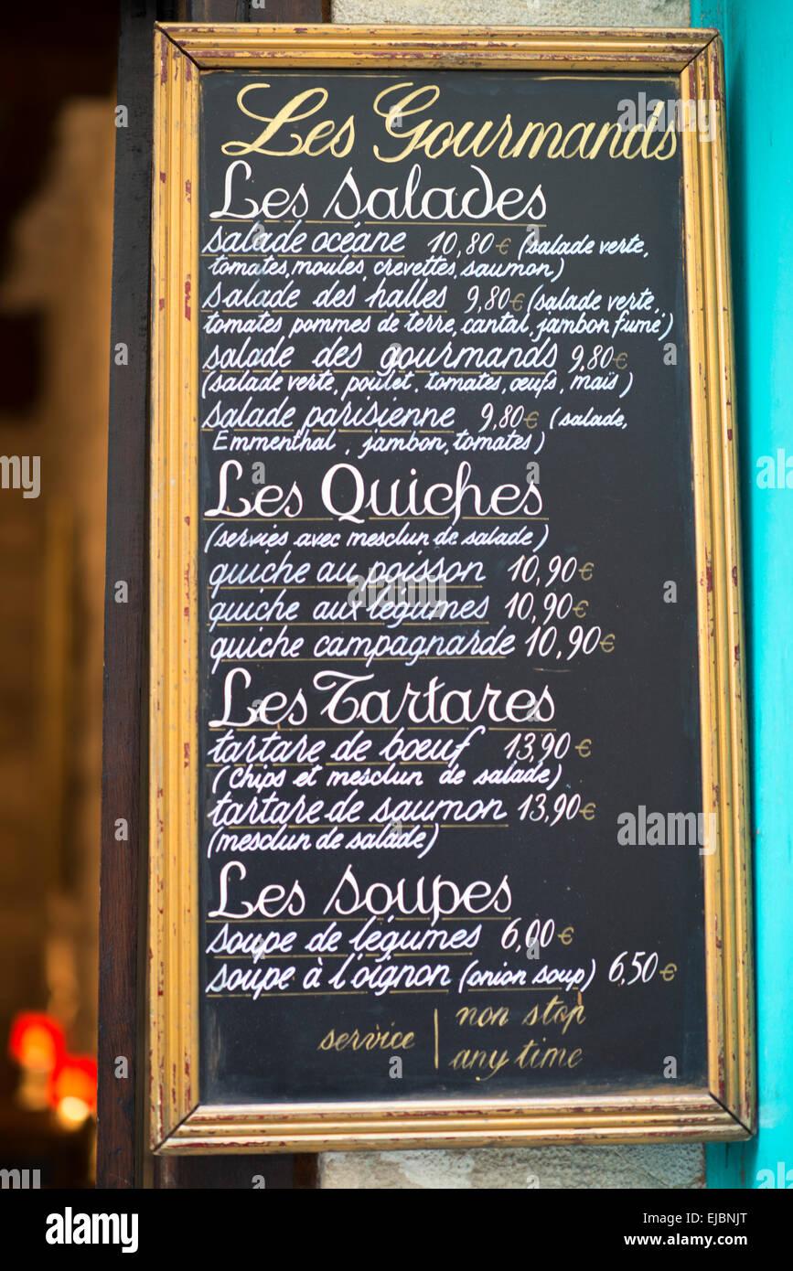 Chalkboard Sidewalk Cafe Menu In Paris France Stock Photo