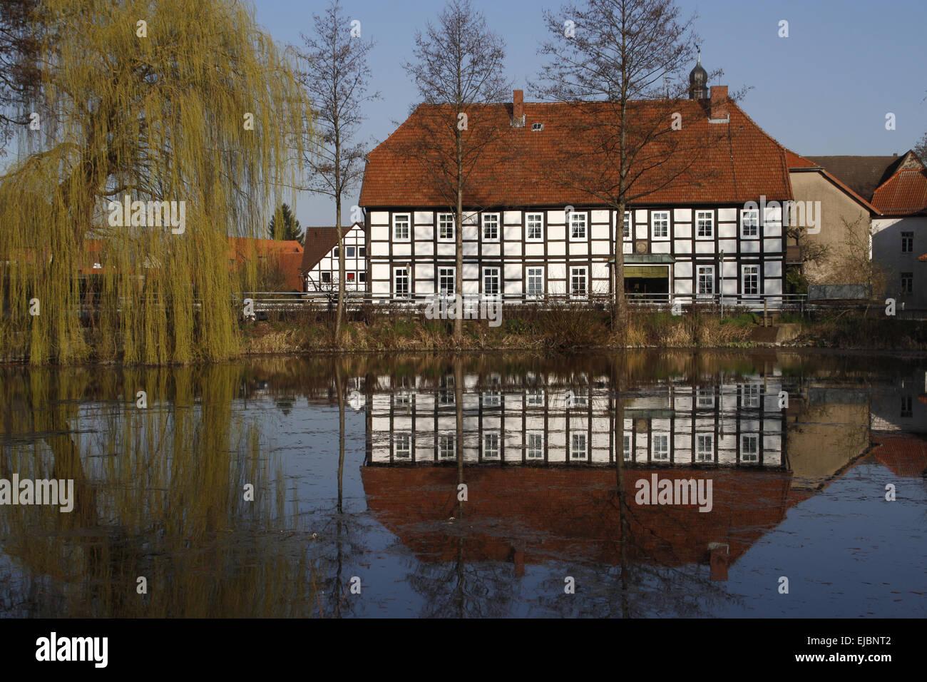 pond, Grohnde, Weser Hills - Stock Image