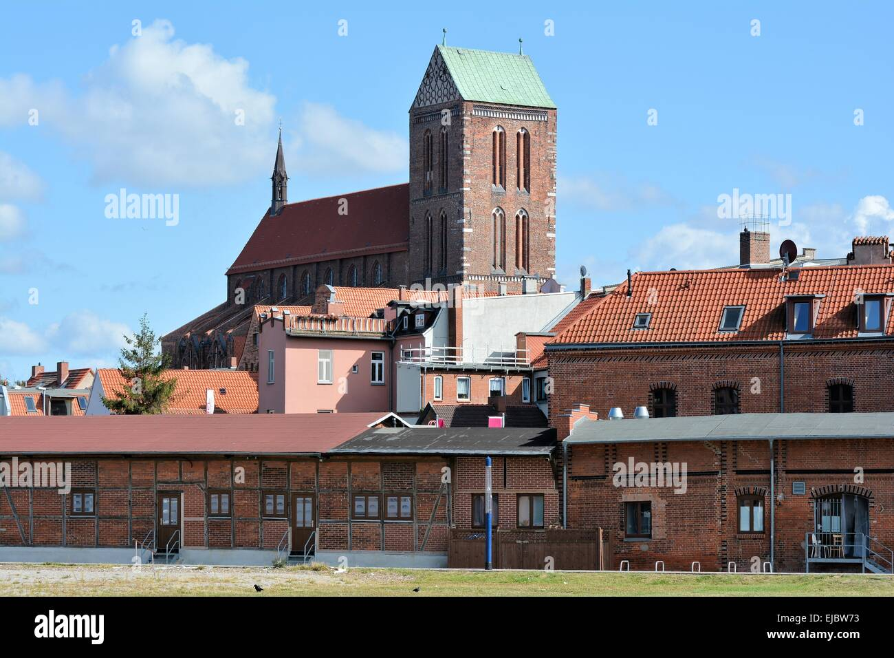 View of the old town of Wismar - Stock Image