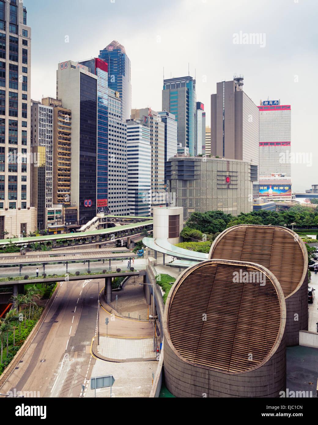 Hong Kong, Hong Kong SAR -November 12, 2014: Elevated view of the central business district of Hong Kong. - Stock Image