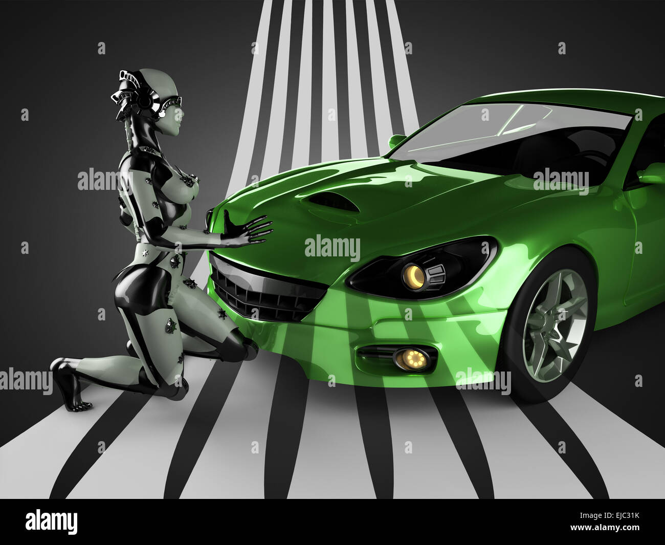 luxury brandless sport car and woman robot - Stock Image