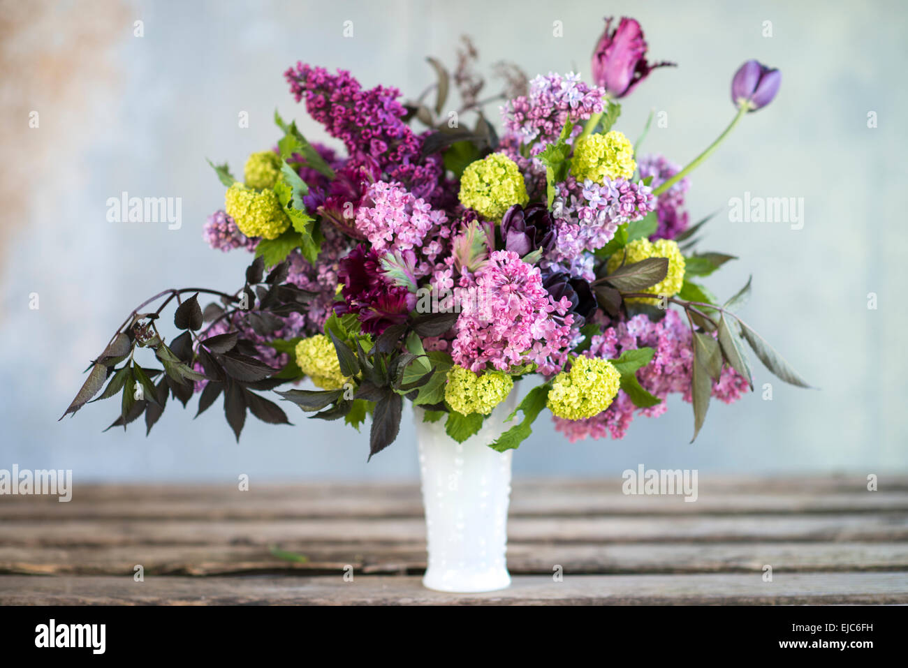 Spring floral bouquet with lilacs, tulips, Snowball bush, hellebore and euphorbia - Stock Image