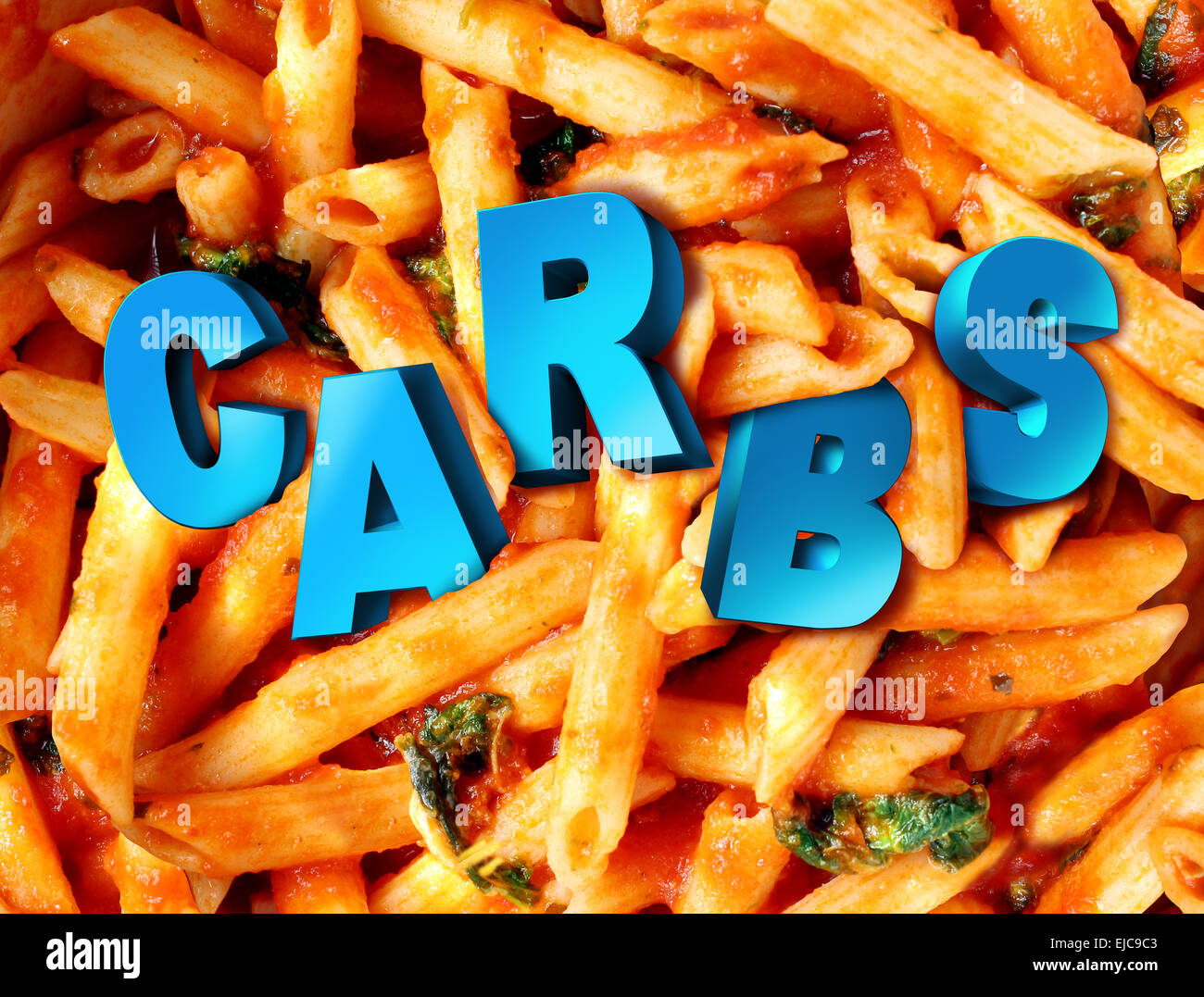 Carbs carbohydrates nutrition concept as a plate of cooked pasta with the word for complex sugar imbedded in the - Stock Image