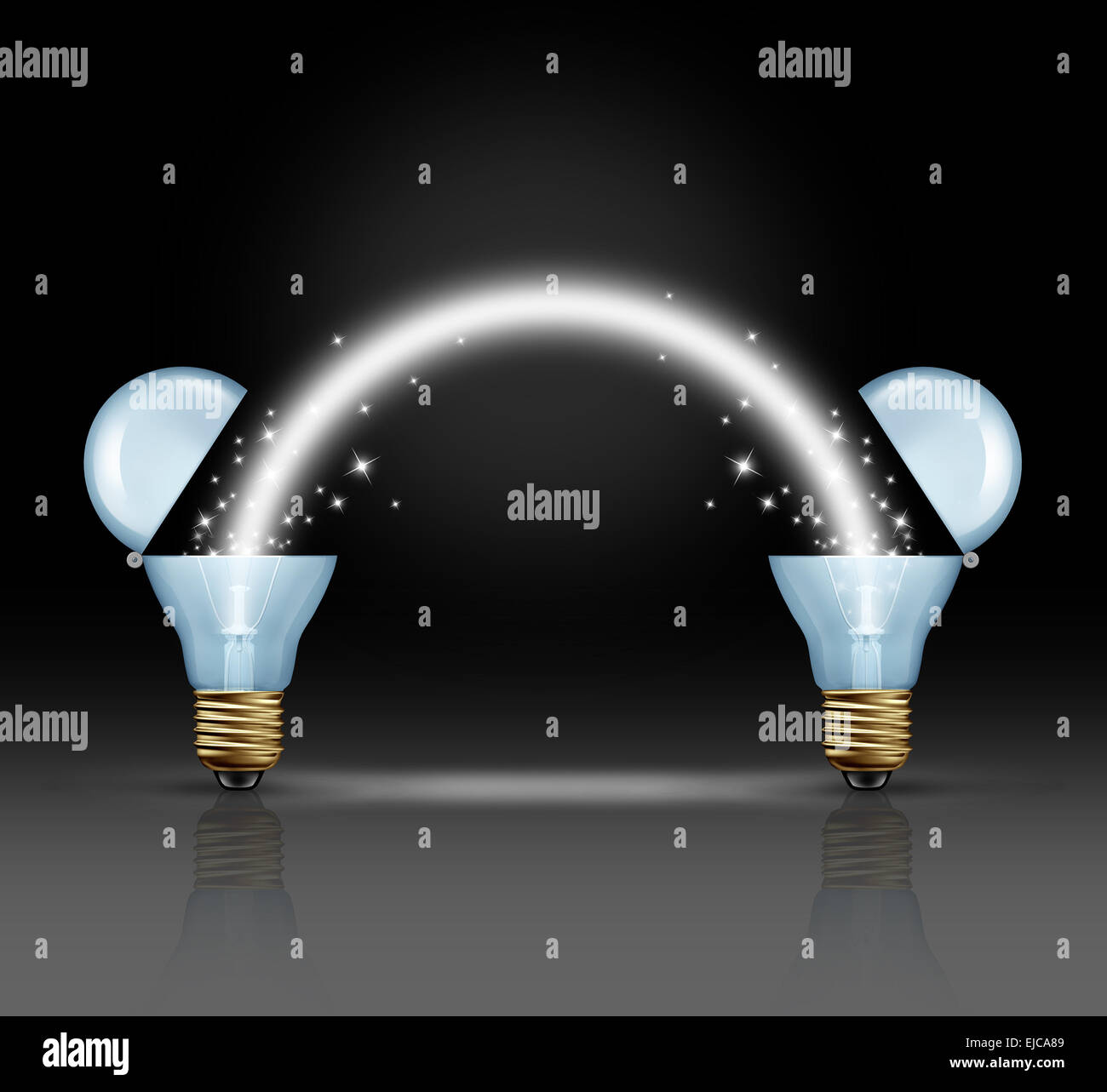 Idea teamwork concept as two open light bulbs glowing a light to connect to each other as a unity symbol of innovation - Stock Image