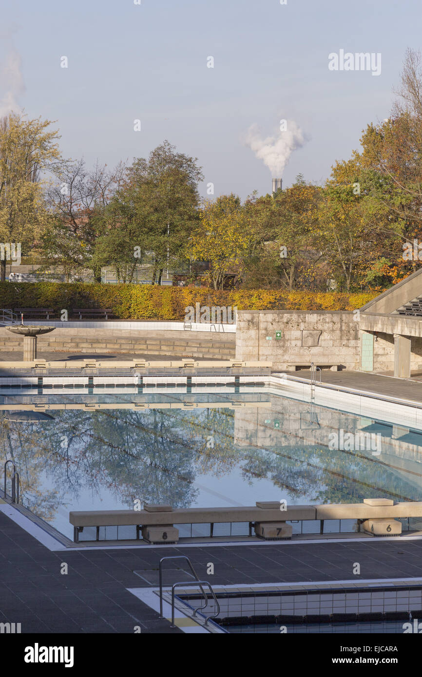 Swimming pool in autumn - Stock Image