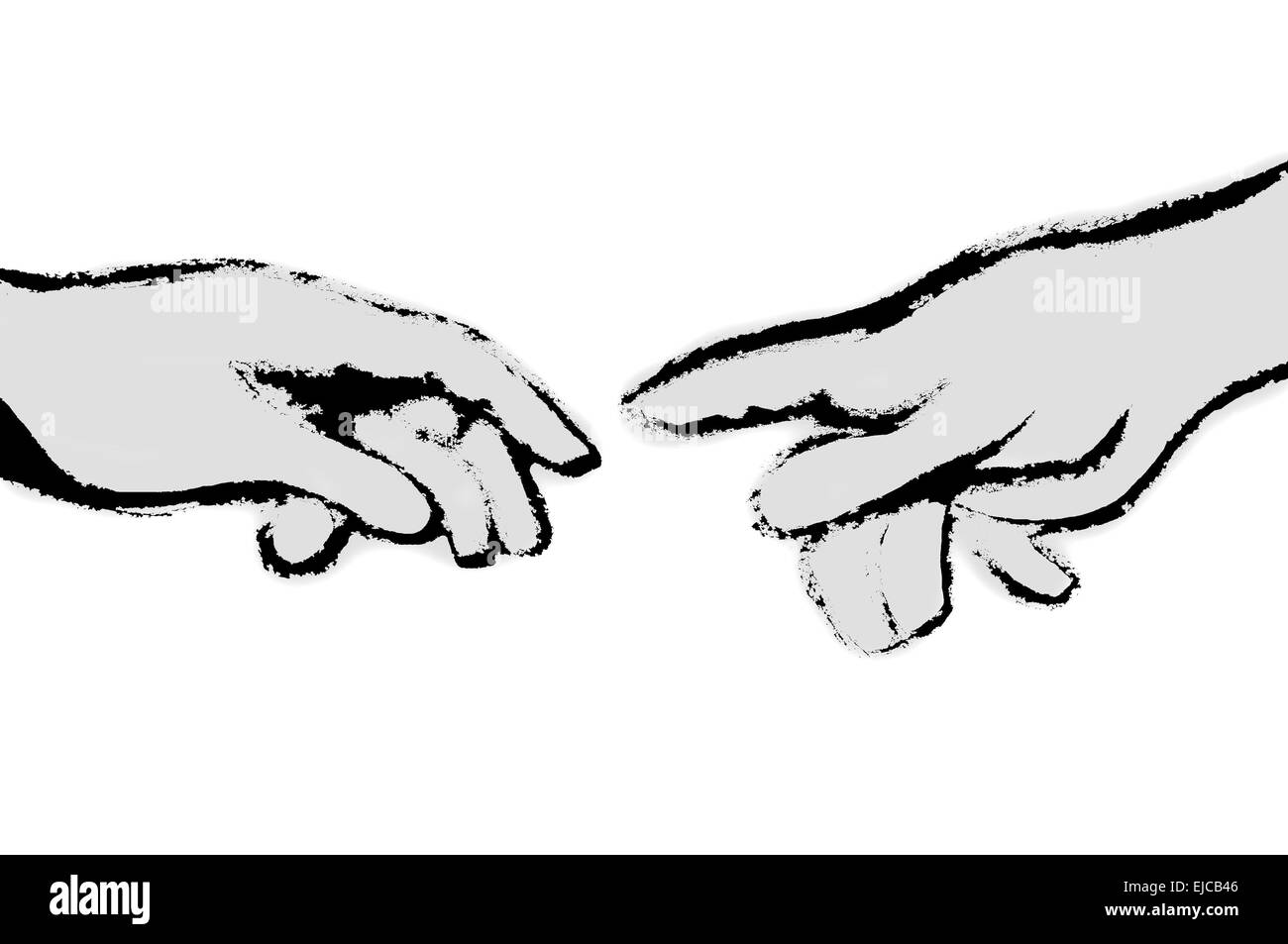 Michelangelo's fingers black and white Stock Photo